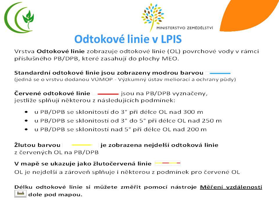 Odtokové linie v LPIS