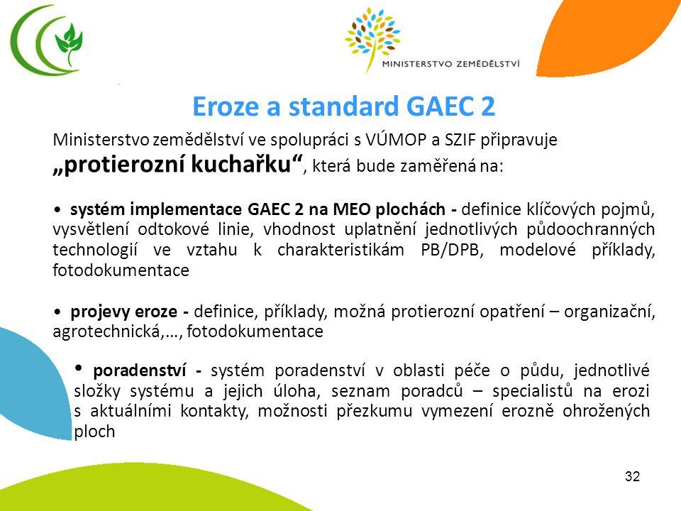 """Eroze a standard GAEC 2 Ministerstvo zemědělství ve spolupráci s VÚMOP a SZIF připravuje. """"protierozní kuchařku , která bude zaměřená na:"""