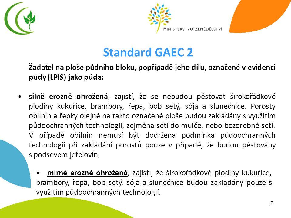 Standard GAEC 2 Žadatel na ploše půdního bloku, popřípadě jeho dílu, označené v evidenci půdy (LPIS) jako půda: