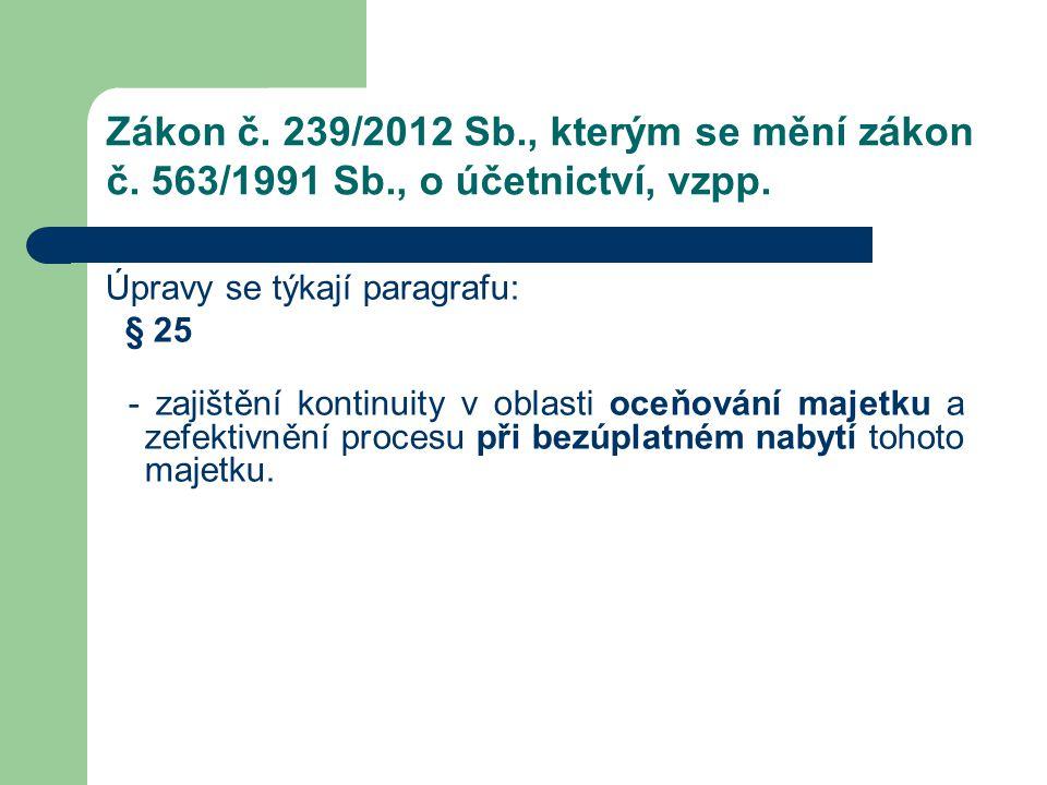 Zákon č. 239/2012 Sb. , kterým se mění zákon č. 563/1991 Sb