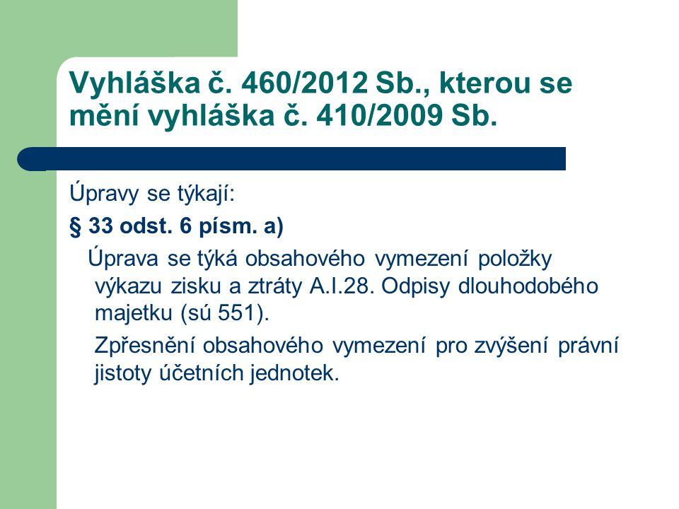 Vyhláška č. 460/2012 Sb., kterou se mění vyhláška č. 410/2009 Sb.