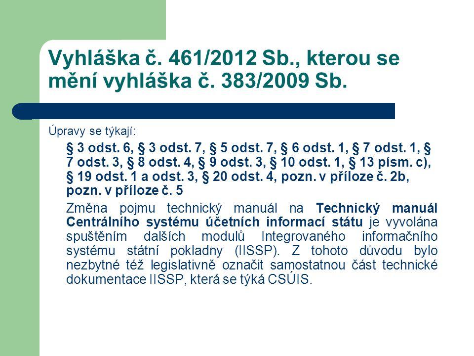 Vyhláška č. 461/2012 Sb., kterou se mění vyhláška č. 383/2009 Sb.