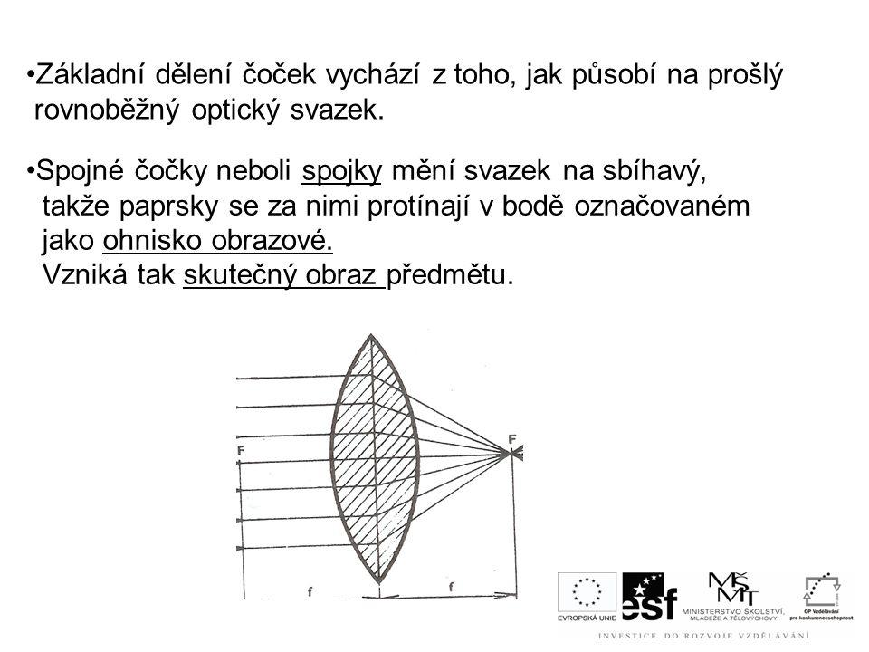 Základní dělení čoček vychází z toho, jak působí na prošlý rovnoběžný optický svazek.