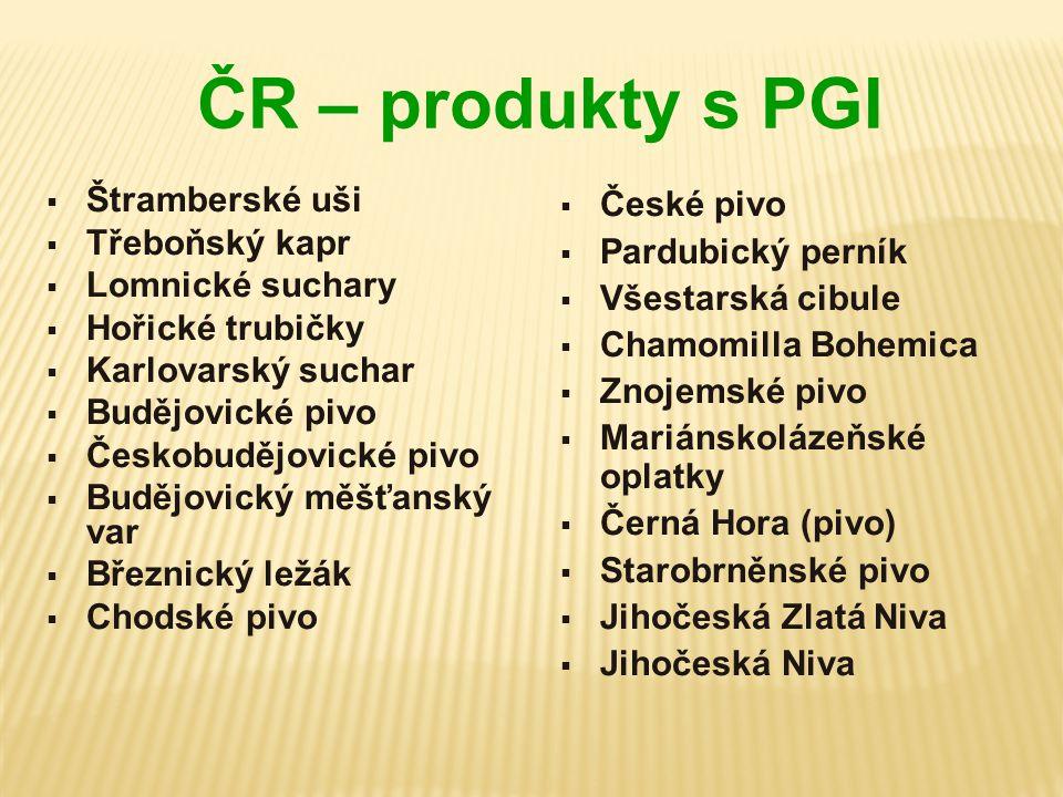 ČR – produkty s PGI Štramberské uši Třeboňský kapr Lomnické suchary