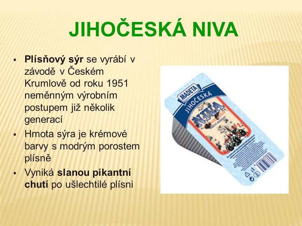 JIHOČESKÁ NIVA Plísňový sýr se vyrábí v závodě v Českém Krumlově od roku 1951 neměnným výrobním postupem již několik generací.