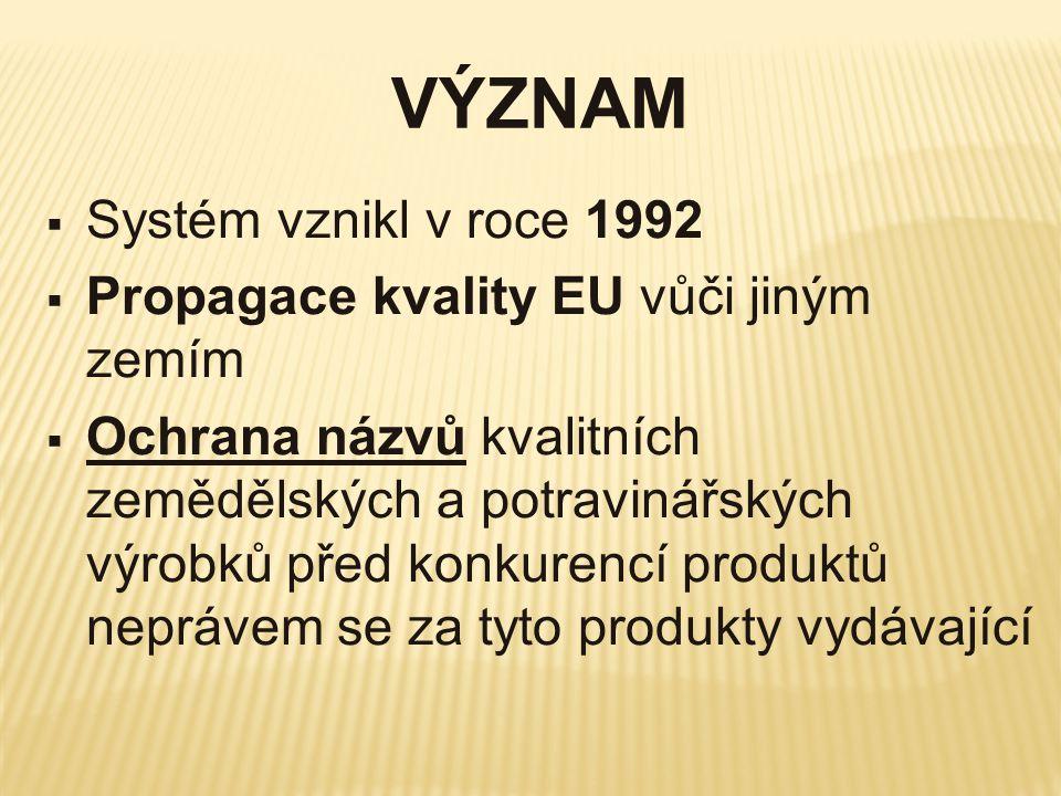 VÝZNAM Systém vznikl v roce 1992 Propagace kvality EU vůči jiným zemím