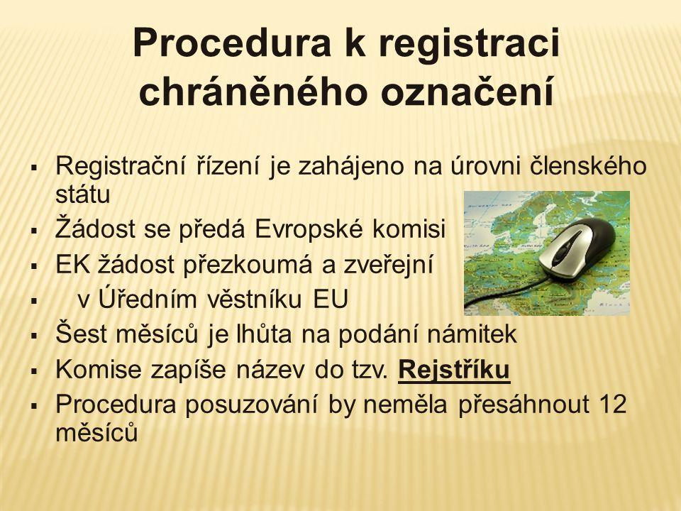 Procedura k registraci chráněného označení
