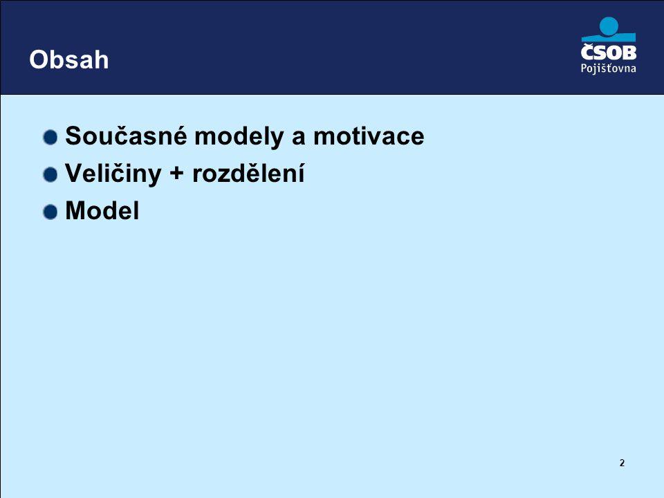 Obsah Současné modely a motivace Veličiny + rozdělení Model