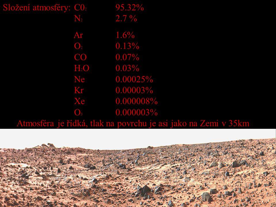 Složení atmosféry: C02 95.32% N2 2.7 %