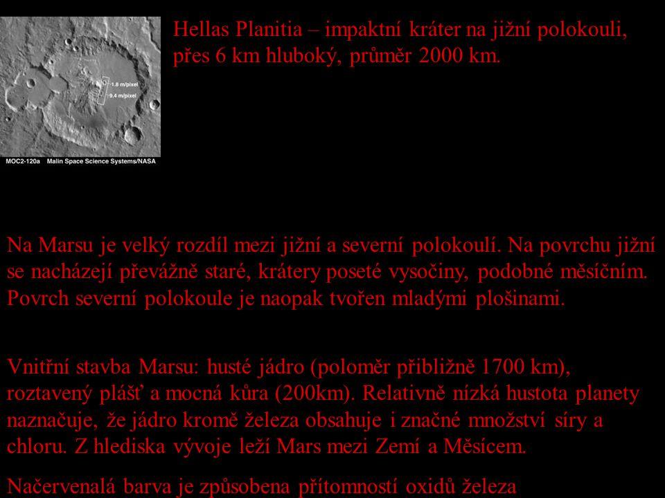 Hellas Planitia – impaktní kráter na jižní polokouli, přes 6 km hluboký, průměr 2000 km.