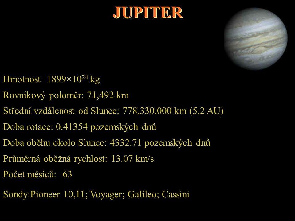 JUPITER Hmotnost 1899×1024 kg Rovníkový poloměr: 71,492 km