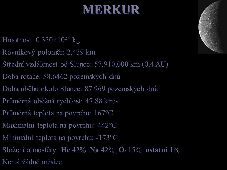 MERKUR Hmotnost 0.330×1024 kg Rovníkový poloměr: 2,439 km