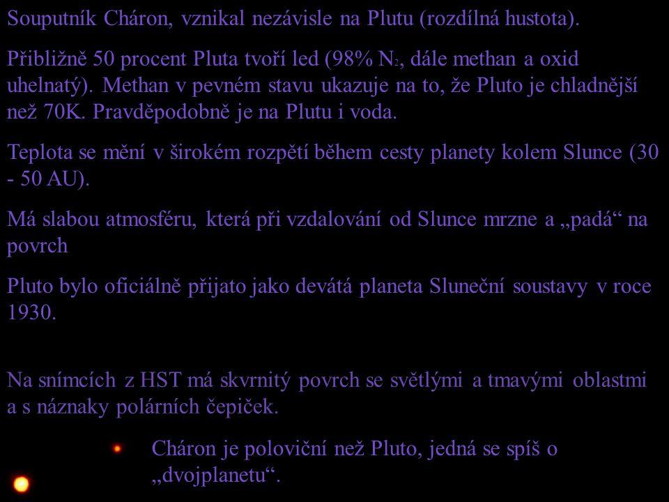 Souputník Cháron, vznikal nezávisle na Plutu (rozdílná hustota).