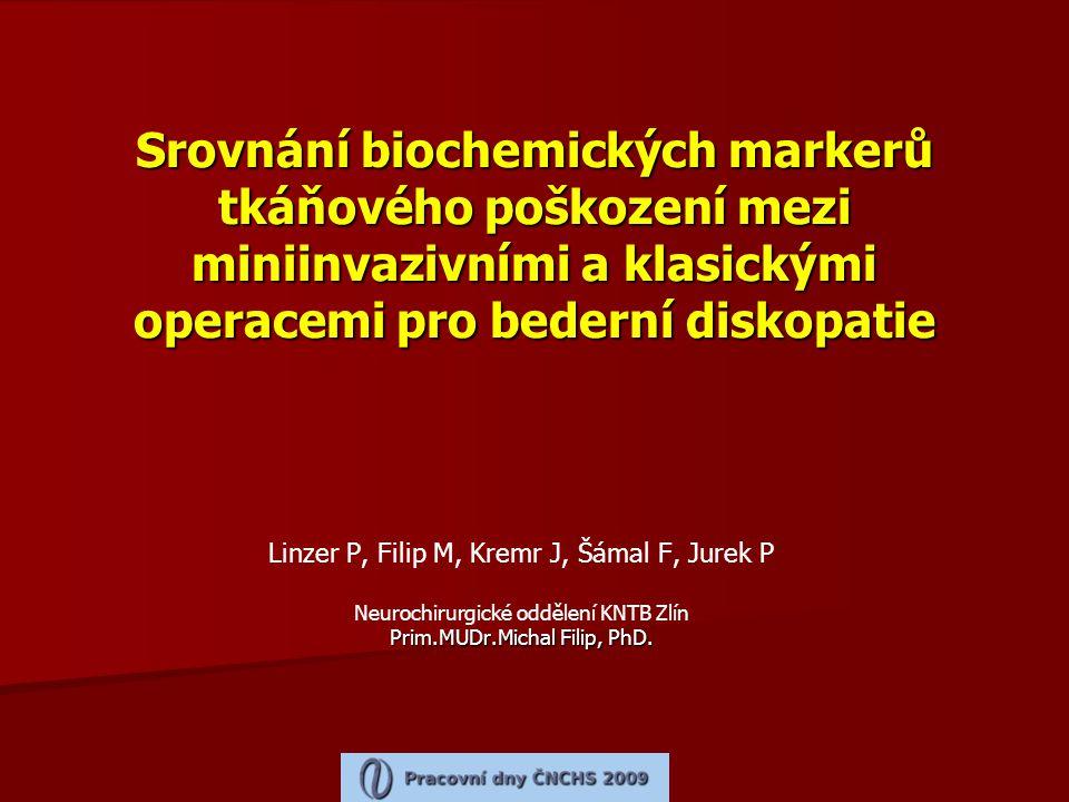 Srovnání biochemických markerů tkáňového poškození mezi miniinvazivními a klasickými operacemi pro bederní diskopatie