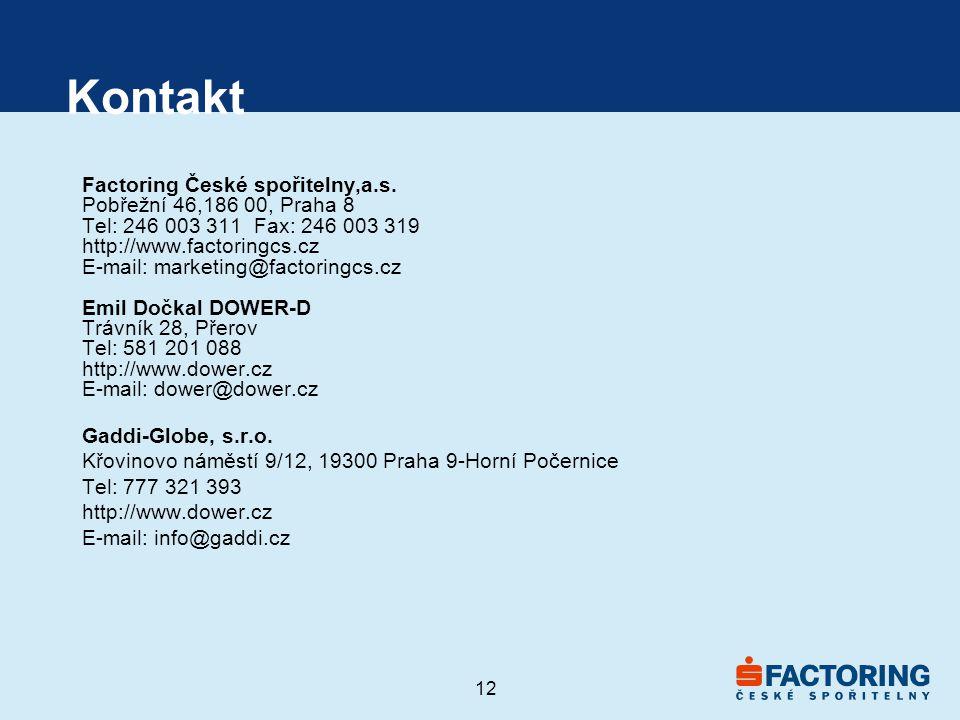 Kontakt Factoring České spořitelny,a.s. Pobřežní 46,186 00, Praha 8