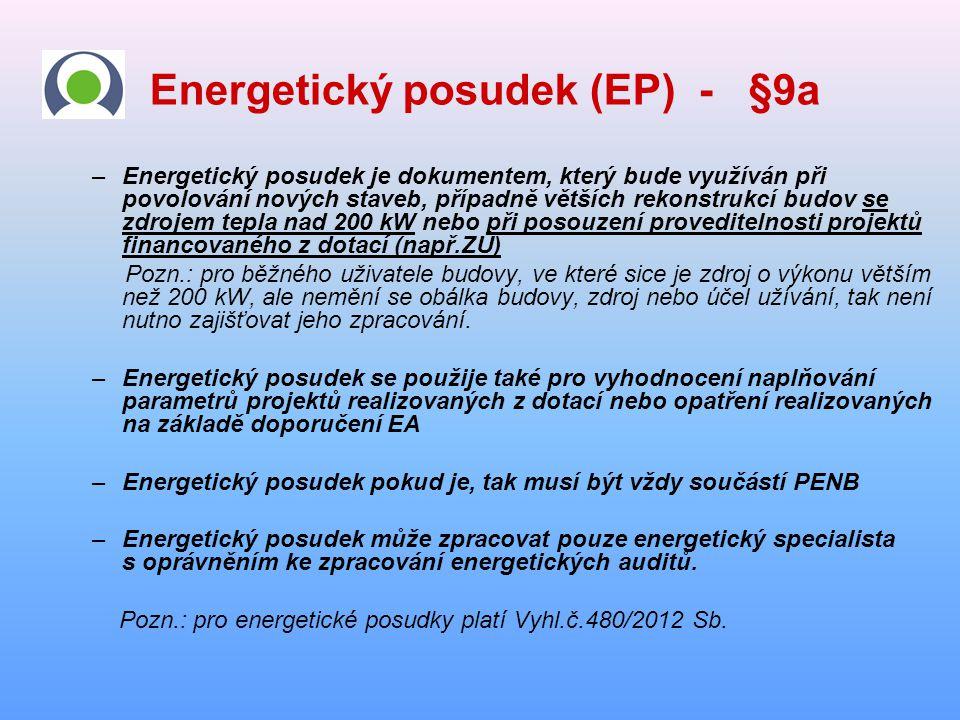 Energetický posudek (EP) - §9a