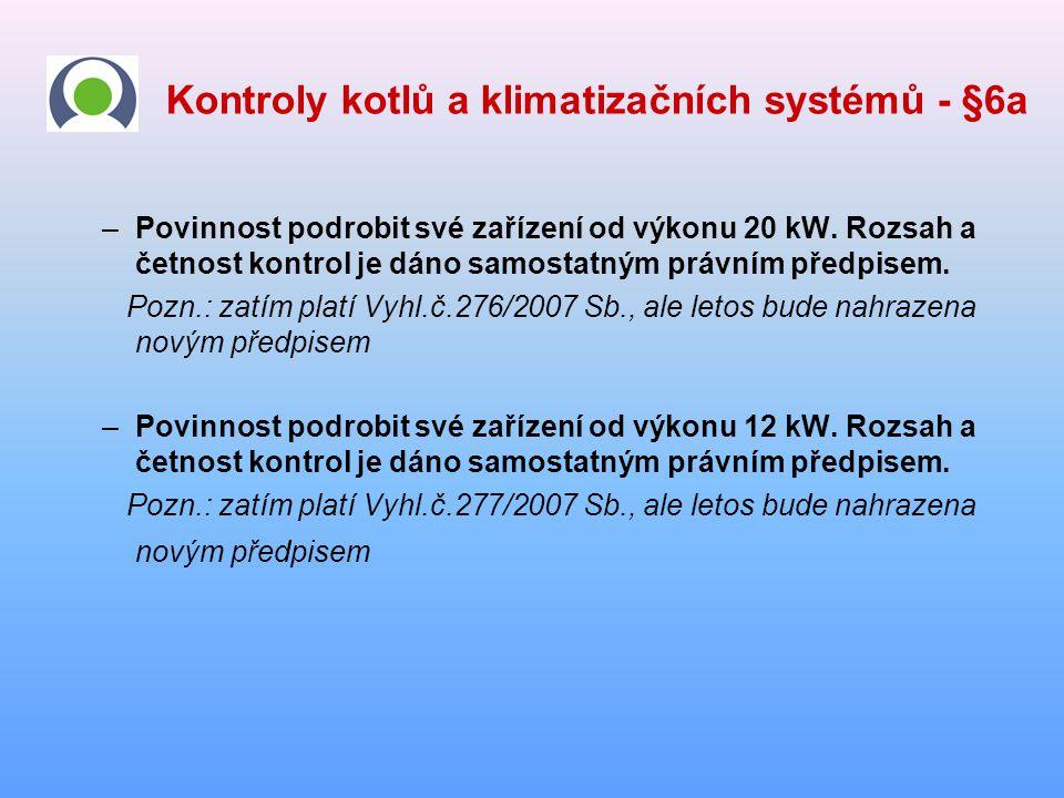Kontroly kotlů a klimatizačních systémů - §6a