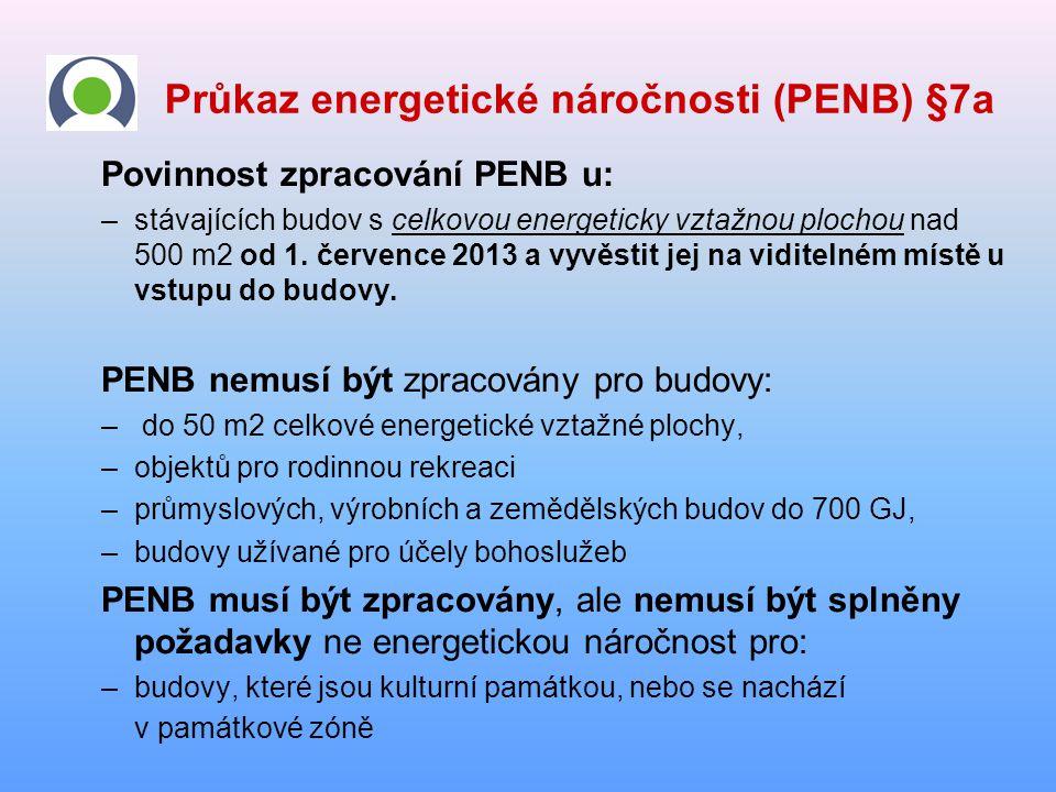 Průkaz energetické náročnosti (PENB) §7a