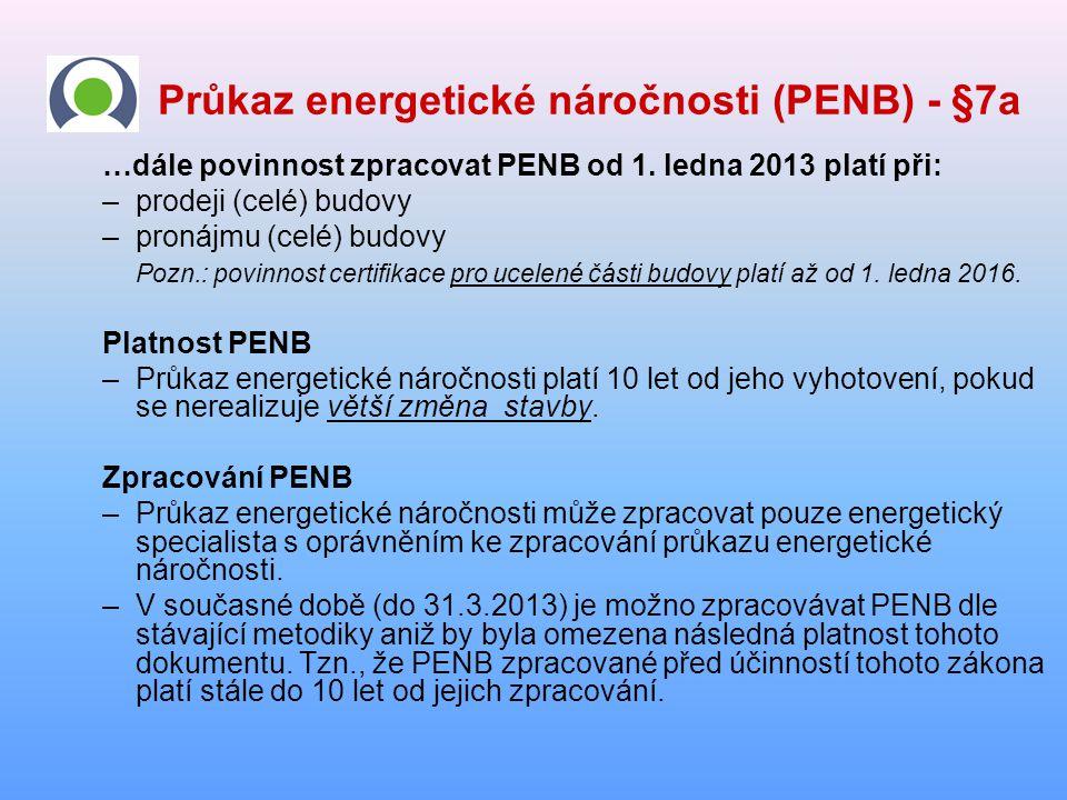 Průkaz energetické náročnosti (PENB) - §7a