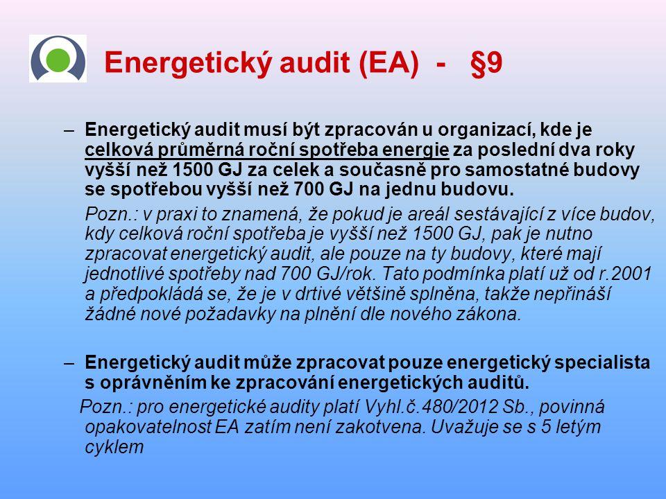 Energetický audit (EA) - §9