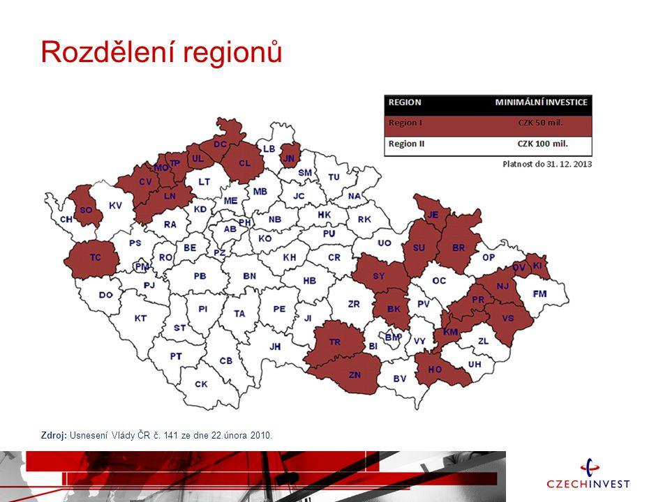 Rozdělení regionů Zdroj: Usnesení Vlády ČR č. 141 ze dne 22.února 2010.