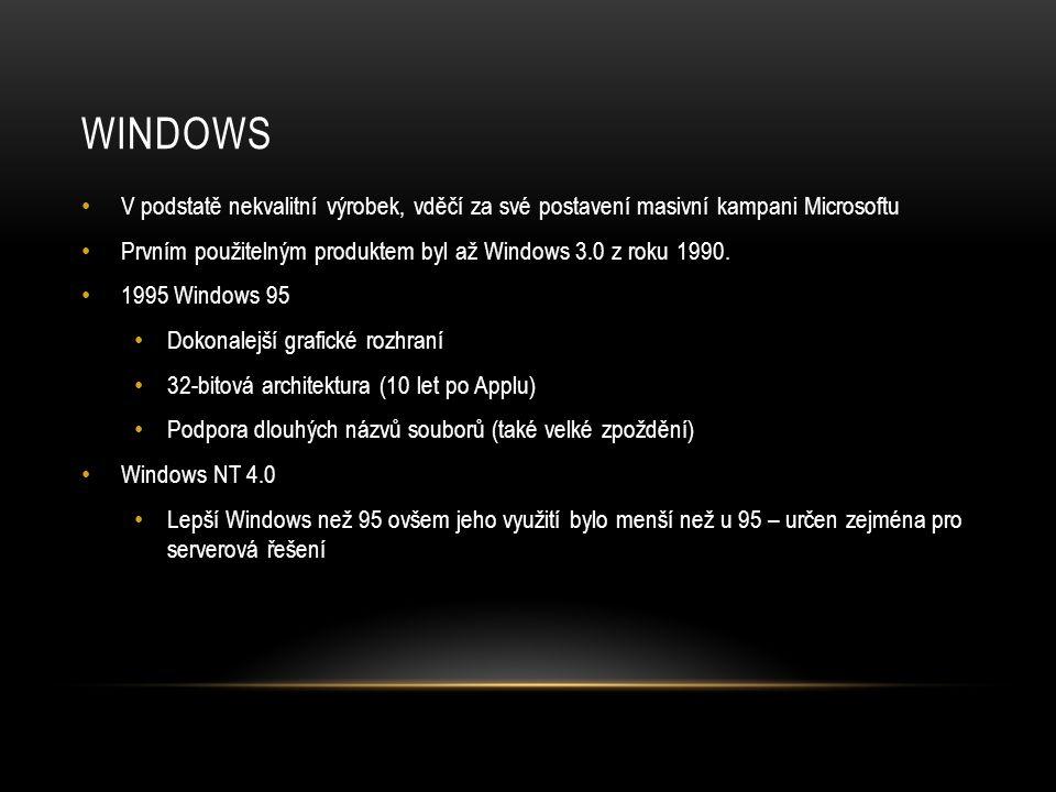 WINDOWS V podstatě nekvalitní výrobek, vděčí za své postavení masivní kampani Microsoftu.