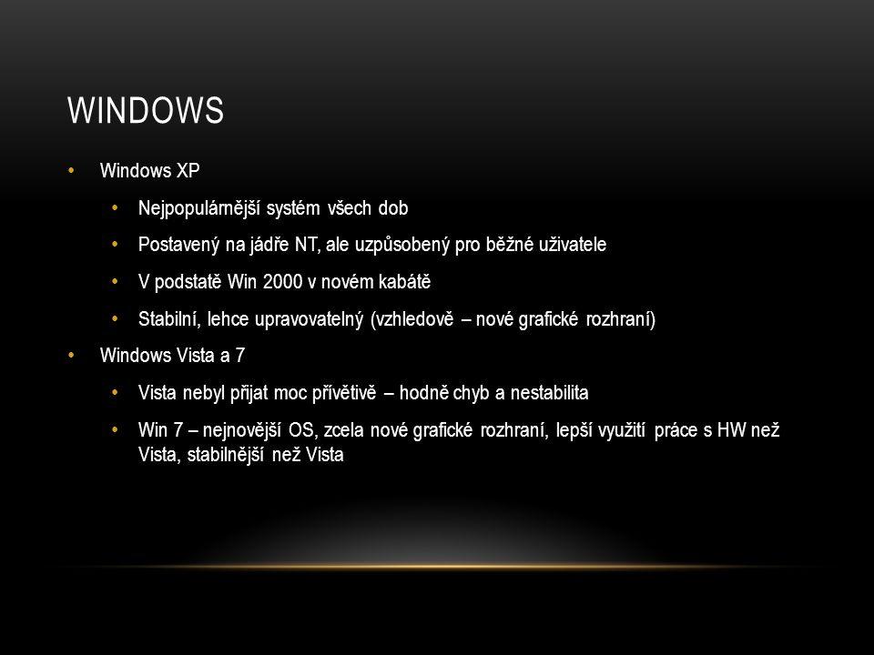 WINDOWS Windows XP Nejpopulárnější systém všech dob