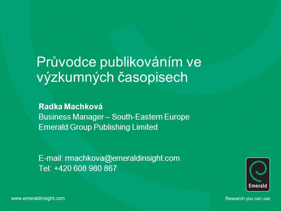 Průvodce publikováním ve výzkumných časopisech