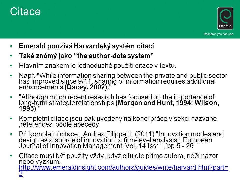 Citace Emerald používá Harvardský systém citací