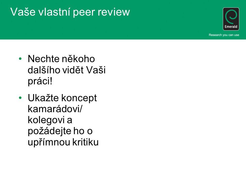 Vaše vlastní peer review
