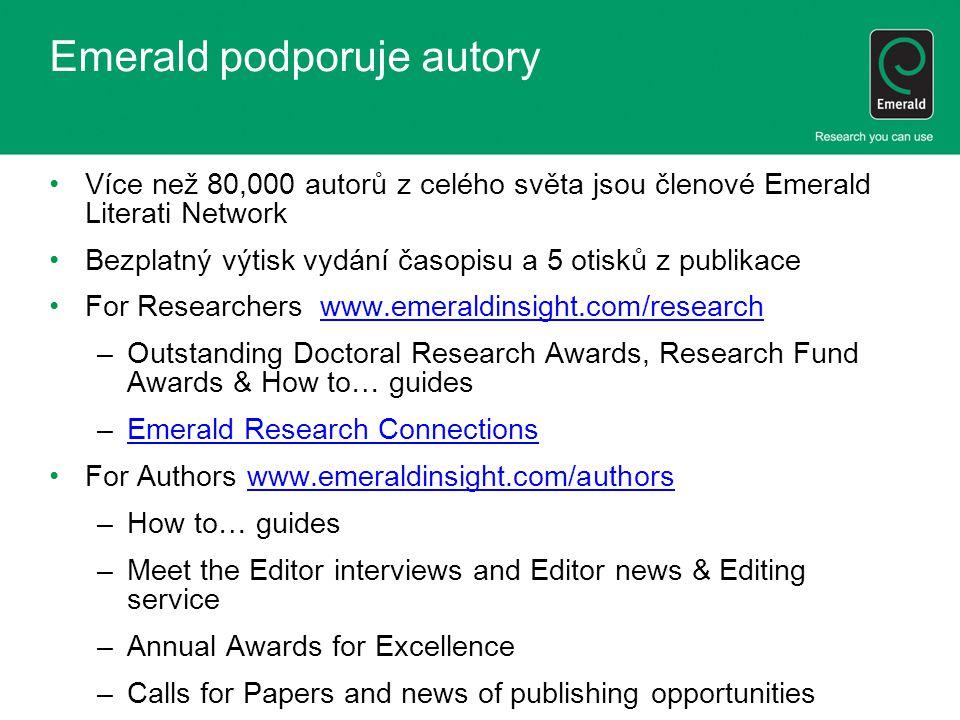 Emerald podporuje autory