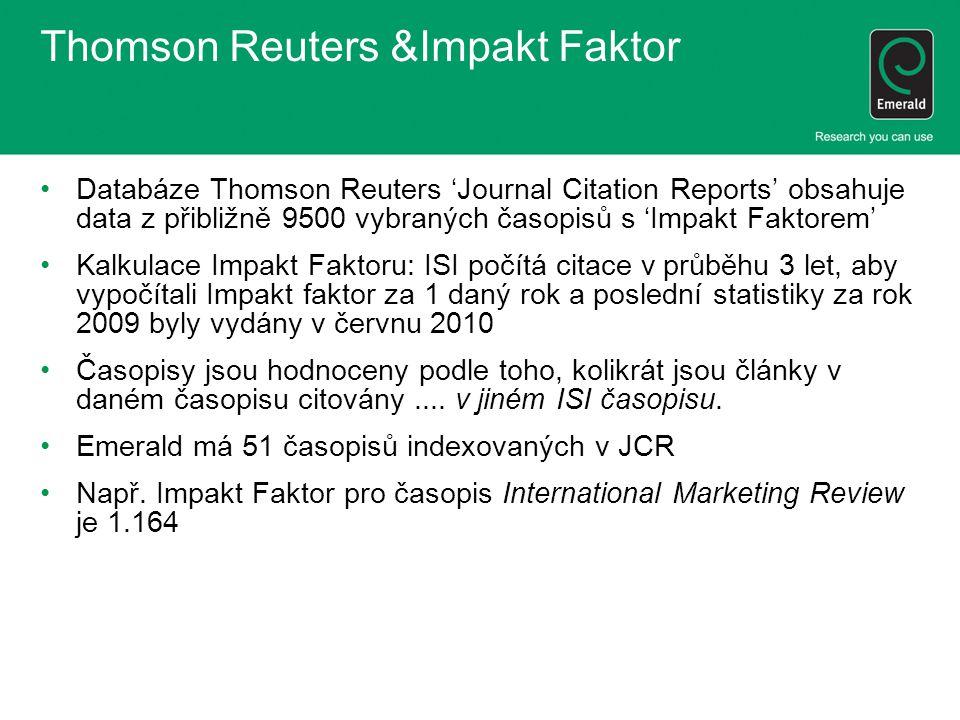 Thomson Reuters &Impakt Faktor