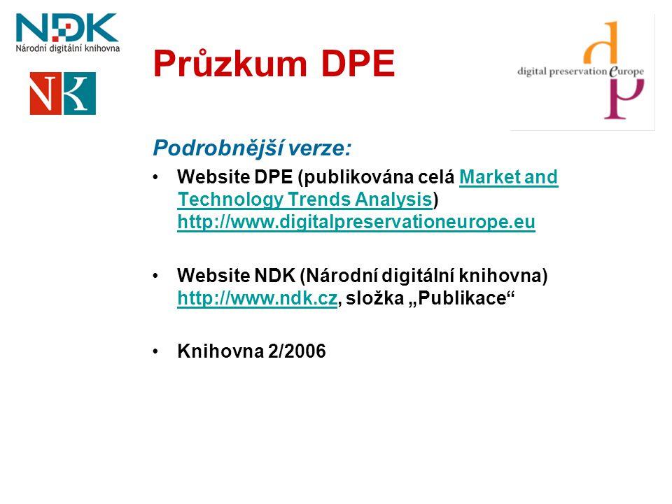 Průzkum DPE Podrobnější verze: