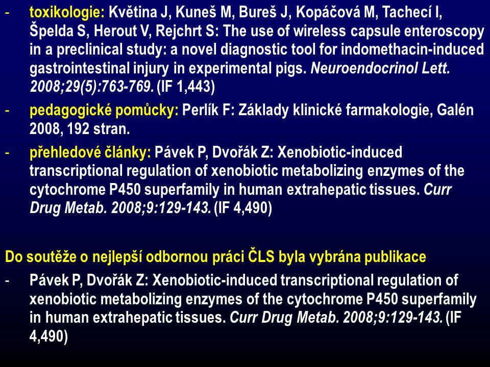 toxikologie: Květina J, Kuneš M, Bureš J, Kopáčová M, Tachecí I, Špelda S, Herout V, Rejchrt S: The use of wireless capsule enteroscopy in a preclinical study: a novel diagnostic tool for indomethacin-induced gastrointestinal injury in experimental pigs. Neuroendocrinol Lett. 2008;29(5):763-769. (IF 1,443)