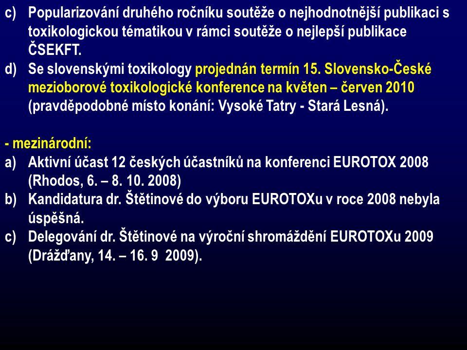 Popularizování druhého ročníku soutěže o nejhodnotnější publikaci s toxikologickou tématikou v rámci soutěže o nejlepší publikace ČSEKFT.