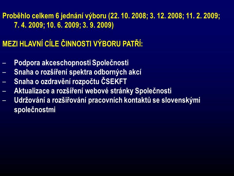 Proběhlo celkem 6 jednání výboru (22. 10. 2008; 3. 12. 2008; 11. 2