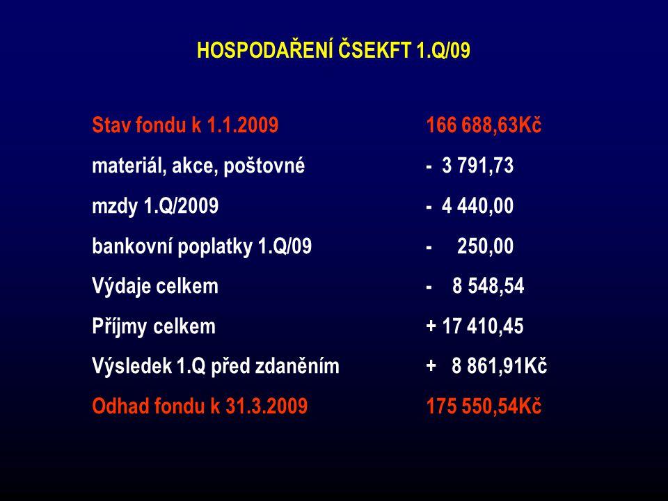 Stav fondu k 1.1.2009 166 688,63Kč HOSPODAŘENÍ ČSEKFT 1.Q/09
