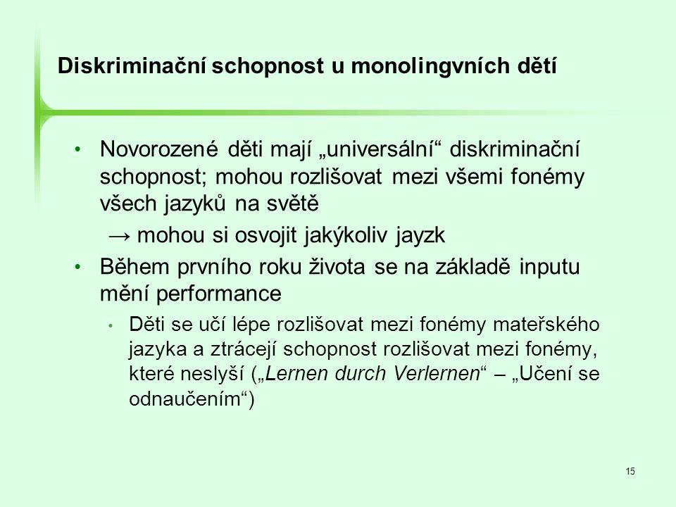 Diskriminační schopnost u monolingvních dětí
