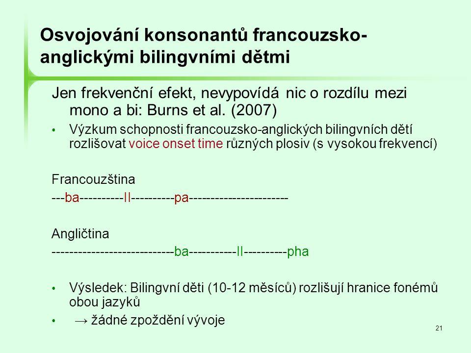 Osvojování konsonantů francouzsko-anglickými bilingvními dětmi