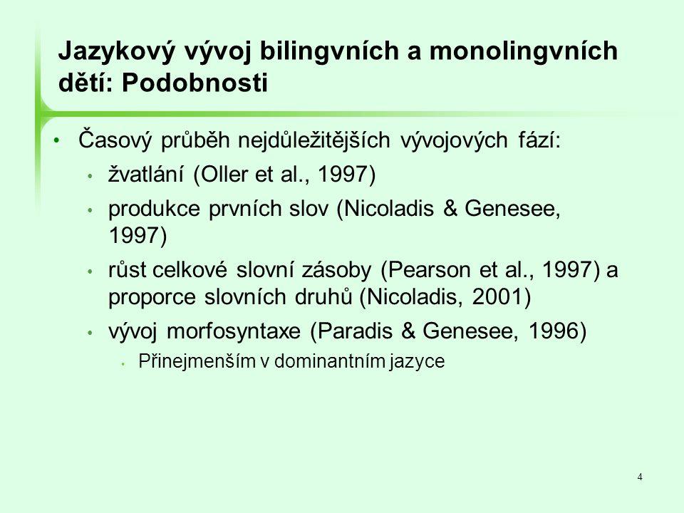 Jazykový vývoj bilingvních a monolingvních dětí: Podobnosti