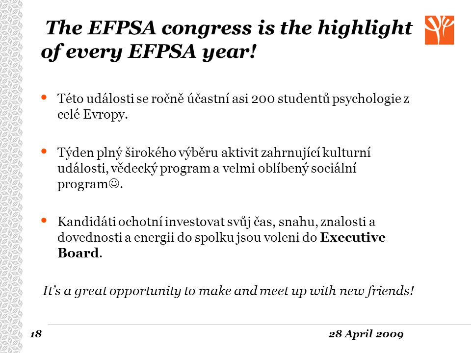 The EFPSA congress is the highlight of every EFPSA year!