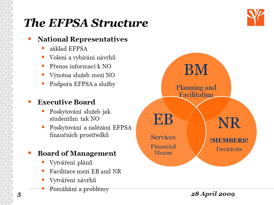 The EFPSA Structure National Representatives Executive Board