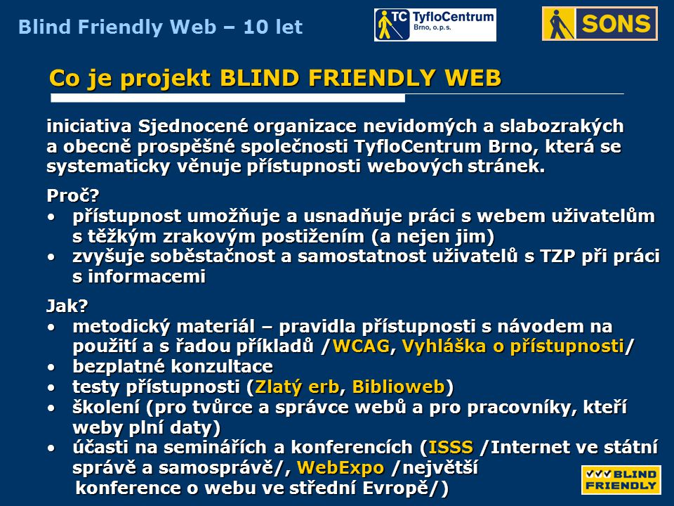 Co je projekt BLIND FRIENDLY WEB