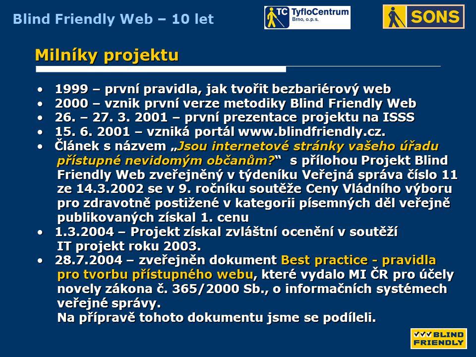 Milníky projektu 1999 – první pravidla, jak tvořit bezbariérový web