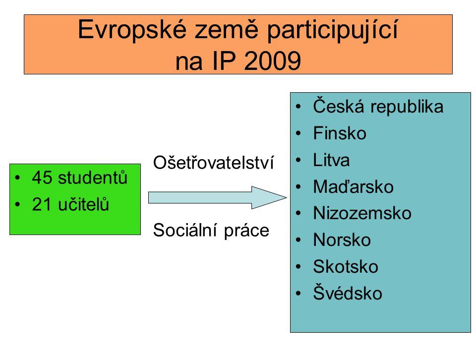 Evropské země participující na IP 2009