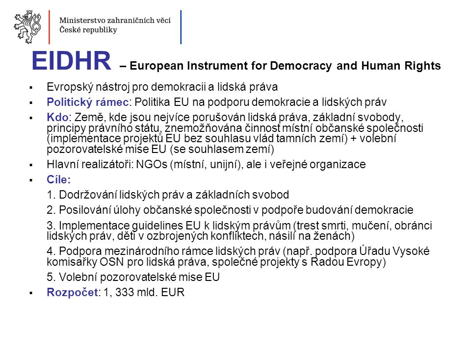 EIDHR – European Instrument for Democracy and Human Rights