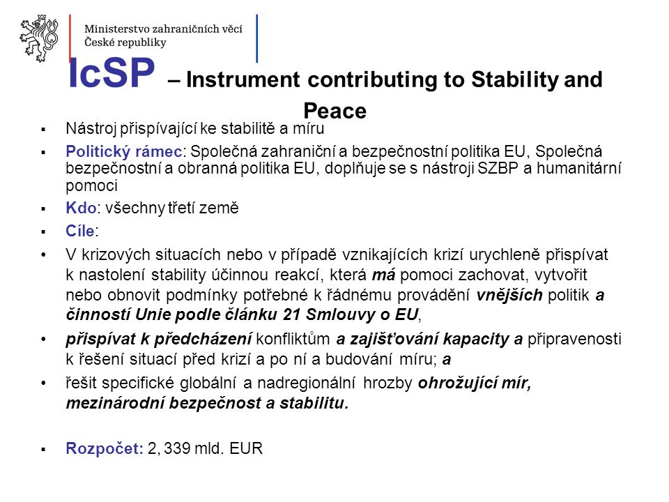 IcSP – Instrument contributing to Stability and Peace