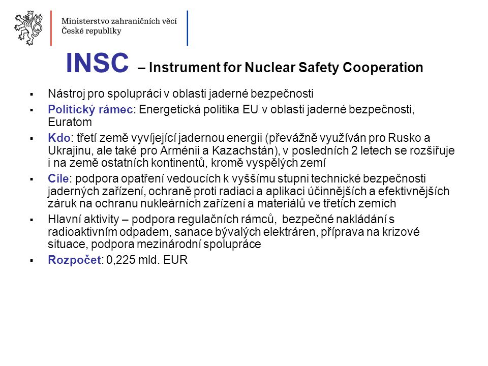 INSC – Instrument for Nuclear Safety Cooperation