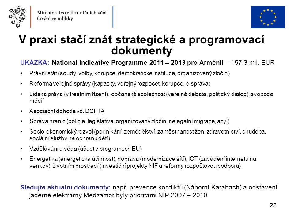V praxi stačí znát strategické a programovací dokumenty