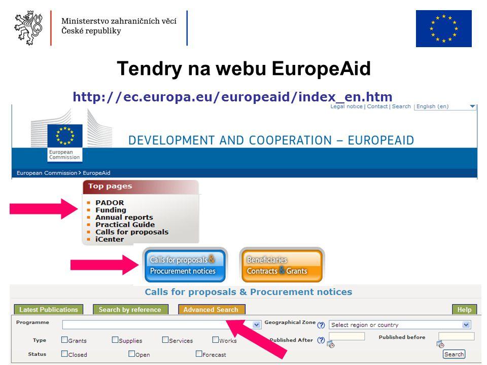 Tendry na webu EuropeAid